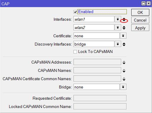 Добавляем Wi-Fi интерфейсы роутера в контроллер MikroTik CAPsMAN