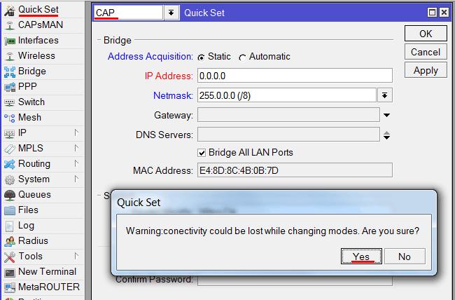 Выбор режима CAP для Wi-Fi точки доступа MikroTik