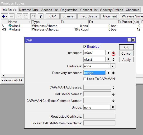 Добавляем Wi-Fi интерфейсы точки доступа в контроллер MikroTik CapsMan