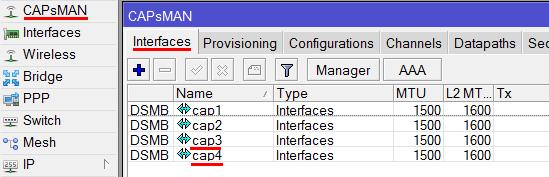 Новые интерфейсы точки доступа в контроллере MikroTik CAPsMAN