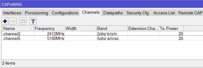 Список каналов в MikroTik CAPsMAN