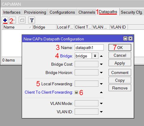 Настройка режима обработки данных Datapaths в MikroTik CAPsMAN