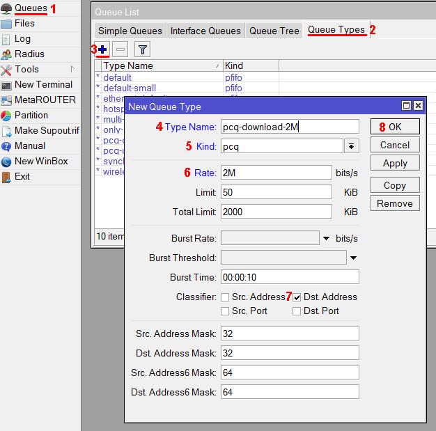 Настройка pcq очереди на загрузку с ограничением 2 Мбит/с